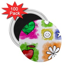A Set Of Watercolour Icons 2 25  Magnets (100 Pack)