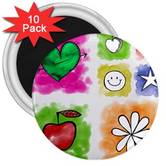 A Set Of Watercolour Icons 3  Magnets (10 Pack)