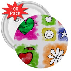A Set Of Watercolour Icons 3  Buttons (100 Pack)