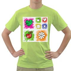A Set Of Watercolour Icons Green T Shirt