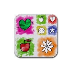 A Set Of Watercolour Icons Rubber Coaster (square)