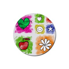 A Set Of Watercolour Icons Rubber Round Coaster (4 Pack)