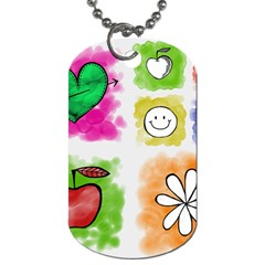 A Set Of Watercolour Icons Dog Tag (one Side)