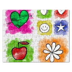 A Set Of Watercolour Icons Rectangular Jigsaw Puzzl