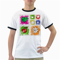 A Set Of Watercolour Icons Ringer T Shirts