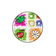 A Set Of Watercolour Icons Hat Clip Ball Marker