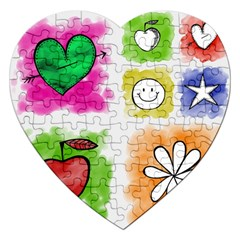 A Set Of Watercolour Icons Jigsaw Puzzle (heart)