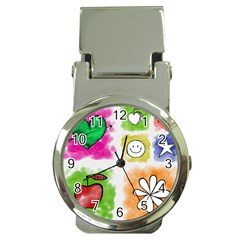 A Set Of Watercolour Icons Money Clip Watches