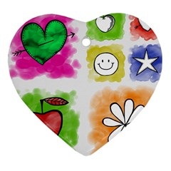 A Set Of Watercolour Icons Heart Ornament (two Sides)