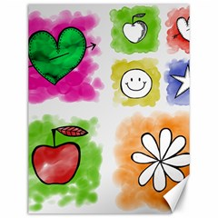 A Set Of Watercolour Icons Canvas 12  X 16