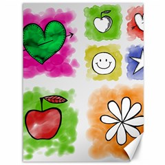 A Set Of Watercolour Icons Canvas 36  X 48