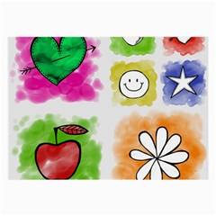 A Set Of Watercolour Icons Large Glasses Cloth (2 Side)