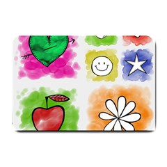 A Set Of Watercolour Icons Small Doormat