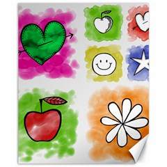 A Set Of Watercolour Icons Canvas 11  x 14