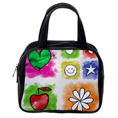 A Set Of Watercolour Icons Classic Handbags (one Side)