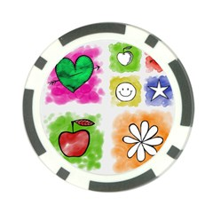 A Set Of Watercolour Icons Poker Chip Card Guard (10 Pack)