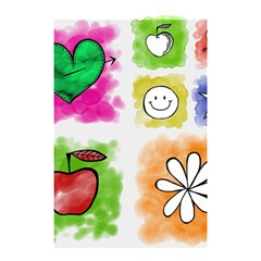 A Set Of Watercolour Icons Shower Curtain 48  X 72  (small)