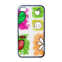 A Set Of Watercolour Icons Apple Iphone 4 Case (black)