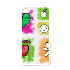 A Set Of Watercolour Icons Apple Iphone 4 Case (white)