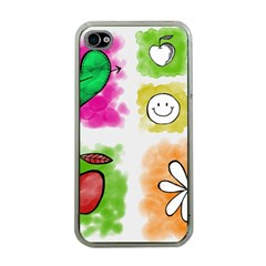A Set Of Watercolour Icons Apple Iphone 4 Case (clear)