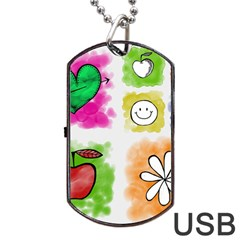 A Set Of Watercolour Icons Dog Tag Usb Flash (one Side)