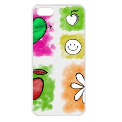 A Set Of Watercolour Icons Apple Iphone 5 Seamless Case (white)