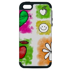 A Set Of Watercolour Icons Apple Iphone 5 Hardshell Case (pc+silicone)