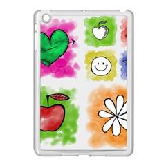 A Set Of Watercolour Icons Apple Ipad Mini Case (white)