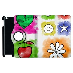 A Set Of Watercolour Icons Apple Ipad 2 Flip 360 Case