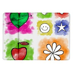 A Set Of Watercolour Icons Samsung Galaxy Tab 10 1  P7500 Flip Case