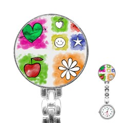 A Set Of Watercolour Icons Stainless Steel Nurses Watch