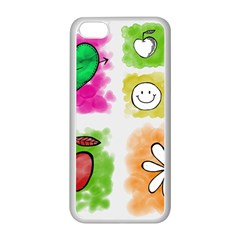 A Set Of Watercolour Icons Apple Iphone 5c Seamless Case (white)