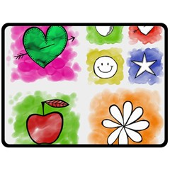 A Set Of Watercolour Icons Double Sided Fleece Blanket (large)