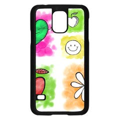 A Set Of Watercolour Icons Samsung Galaxy S5 Case (black)