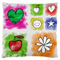 A Set Of Watercolour Icons Standard Flano Cushion Case (one Side)