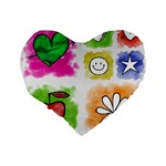 A Set Of Watercolour Icons Standard 16  Premium Flano Heart Shape Cushions Back