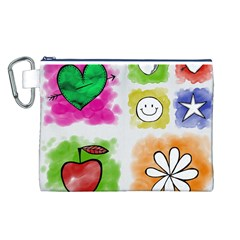 A Set Of Watercolour Icons Canvas Cosmetic Bag (l)