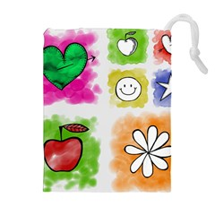 A Set Of Watercolour Icons Drawstring Pouches (extra Large)