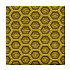 Golden 3d Hexagon Background Tile Coasters