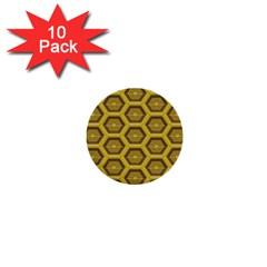Golden 3d Hexagon Background 1  Mini Buttons (10 Pack)