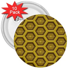 Golden 3d Hexagon Background 3  Buttons (10 pack)
