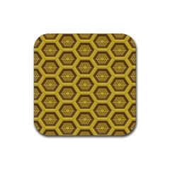 Golden 3d Hexagon Background Rubber Coaster (square)
