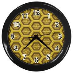 Golden 3d Hexagon Background Wall Clocks (black)