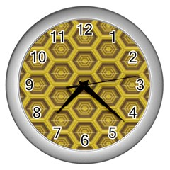 Golden 3d Hexagon Background Wall Clocks (Silver)