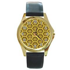 Golden 3d Hexagon Background Round Gold Metal Watch