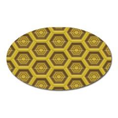 Golden 3d Hexagon Background Oval Magnet