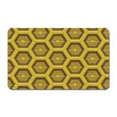 Golden 3d Hexagon Background Magnet (rectangular)