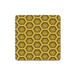 Golden 3d Hexagon Background Square Magnet