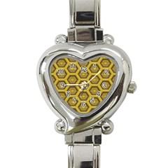 Golden 3d Hexagon Background Heart Italian Charm Watch
