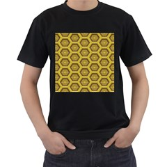 Golden 3d Hexagon Background Men s T Shirt (black) (two Sided)